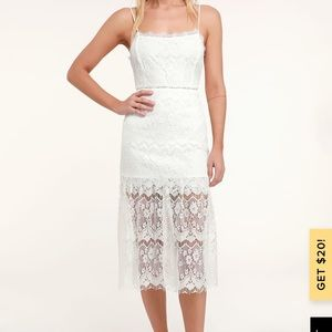 "Lulus ""Wagner white lace sleeveless midi dress"""